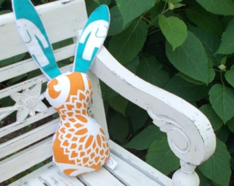Turquoise and Orange Bits The Bunny Plush Rattle
