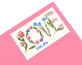 Pack of 25 Unused Floral Love Stamps - 20c - Vintage 1982 - Unused Postage - Quantity of 25