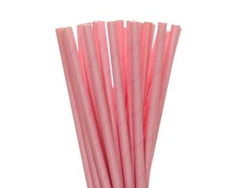 Paper Straws, Solid Light Pink Paper Straws, Pink Baby Shower Decor, Bridal Shower Straws, 1st Birthday Straw, Pink Wedding Paper Straws