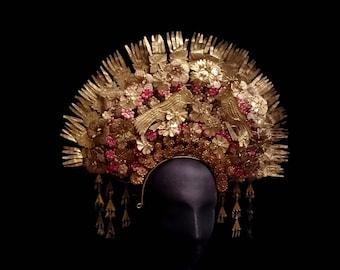 Vintage Gold Birds & Flowers Tassel Headdress, Spectacular Traditional Ethnic Peacock Dance Crown, Exotic Bohemian Dancer, Dark Princess