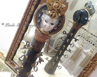 Time Keeper Totem Art Doll Steampunk Art Doll  Skeleton Key Theme OOAK Sculpted Assemblage Doll Lorelie Kay Designs