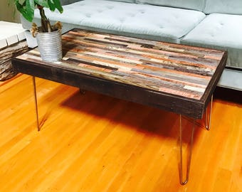 Urban Industrial Coffee Table - Reclaimed Rustic Wood with Vintage Eames Style Steel Hairpin Legs in a Mosaic Pattern