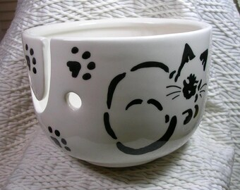 Siamese Stencil Cats On Yarn Bowl Handmade Original Earthenware Clay by Grace M Smith