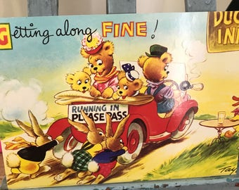 Bamforth Merry Message Series - 1940s Getting Along Fine Postcard with Teddy Bears.