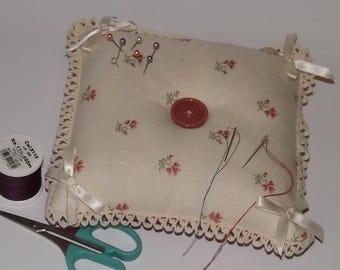 Large Cream and Pink Pincushion, Large Square Pincushion, Crafters Pincushion