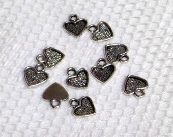 Charms silver metal hearts