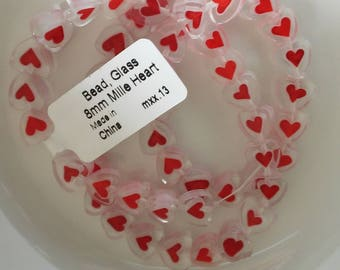 Heart Beads-Clear Glass Red Heart Beads-Red Heart Beads-Glass Heart Beads-Valentines Beads-Love Beads-Valentines Heart Beads-Glass Beads-Red