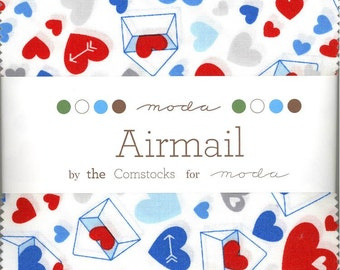 Airmail Charm Pack from Moda, Set of 42 5-inch Precut Cotton Fabric Squares (37100PP)