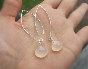 Pink oder Aqua Chalcedon Stein lange Ohrring Ohrhänger