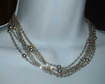 Retro Vintage Anne Klien Necklace Silver Metal Multi SIX Strand Chain with Silver Ball Beads