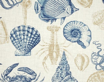 Richloom Indoor/Outdoor Fabric, Sea Life Marine Outdoor Fabric, Navy Blue Ivory Khaki Upholstery Fabric, Nautical Theme Fabric - by the yard