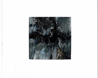 """Limited Edition """"Night Shadows """"  No. 0 3  """"2 x 2""""   Original Acrylic Matted Painting  on 350 gsm Card stock"""