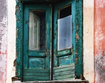 Rustic Old Doors, Noto Sicily, Turquoise Textured, Peeling Paint, Distressed Old Building, Multi Colored, Wall Decor