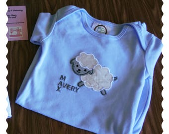 Little Lamb Embroidered Baby Gown and Hat set