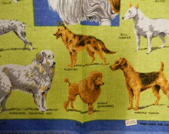Lots of Dog Breeds 1970's Vintage Unused RICHLIN Cotton Linen Blend Tea Towel