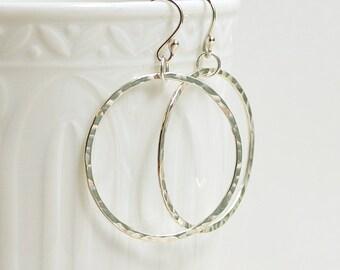 Sterling Silver Dangle Hoop Earrings, Hammered Circle Earrings, Hoop Earrings, Modern Jewelry, Minimalist, Argentium Silver, 1 - 2 inch diam