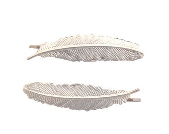 Wedding Hair Clips Bridal Bobby Pins Silver Feather Barrettes Nature Bird Free Spirit Boho Bohemian Festival Accessories Womens Gift For Her