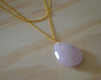 Gold Layered Pink quartz Necklace