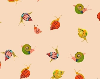 1 Yard SLEEPING PORCH Heather Ross Petite Tiny SNAILS #42209-13 Peach Cotton Lawn Windham Quilting Sewing Children Escargo Nature Fabric
