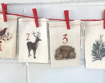 Woodland Rustic Advent Calendar Bags | Nature Vintage Christmas Countdown Kit | Cabin Country Cottage Natural Trees Bird Nest Xmas Advent