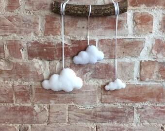 Cloud mobile, rainbow cloud, cloud hanging, felt cloud
