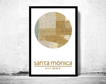 SANTA MONICA - city poster - city map poster print