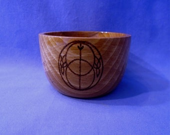 Handmade Wooden Small Bowl, with * The Vesica Pisces*  this is an ancient Symbol.