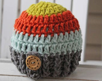 Baby Boy Hat, Boy Hat, Crochet Baby Hat, Kids Hats,  Boy Beanie, Striped Hat, Newborn Hat, Infant Hats, Kids Hats, Children Hats