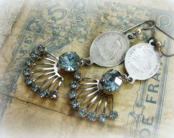 madonna one of a kind vintage assemblage earrings vintage holy medals mid century baby blue rhinestone sprays mother of grief pray for us