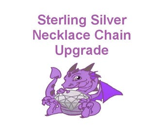 "Sterling Silver Necklace Chain Upgrade, Sterling Silver Cable Chain Add On, 16"", 18"", 20"" or 22"" Length"