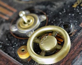 Dimmer Switch - Antique Brass Finish - Steampunk Switch - Industrial Style - Wheel Knob - Vintage - Retro
