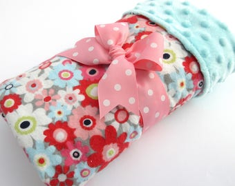 Baby Stroller Blanket - Floral Baby Blanket - Baby Girl Blanket - Coral, Pink, Aqua, Gray Floral Print - Cotton Flannel Blanket - Aqua Minky