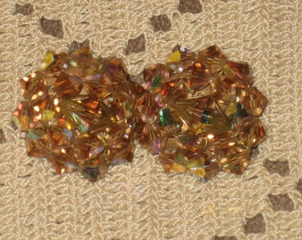 Amber Aurora Borealis Cluster Earrings, Vintage, Bicone Crystals, Unmarked