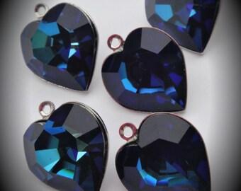 15mm Genuine Silver Plated Swarovski Crystal Bermuda Blue Heart Charms Pendant 4800