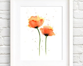 Floral Watercolor Painting - Poppies Art Print - Orange Flower Wall Decor