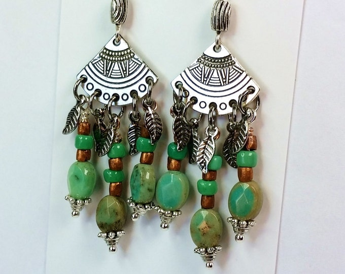 Silver Fandango Chandelier Earrings with Silver Feather Dangles, Turquoise Czech Beads and Copper Beads