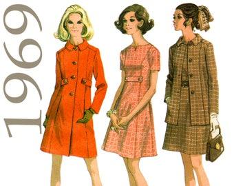 "1969 Pattern Mod A-Line Dress and Coat Mod Coat Pattern McCALLS 2031 bust 37"" Short Sleeve Dress Button Belt Princess Seams A-Line Coat"
