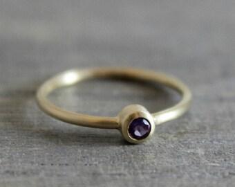 3mm Amethyst 14kt Yellow Gold Ring