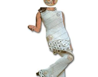Retro Mod Pant Suit - Vintage English Crochet Pattern - Instant Download PDF - PrettyPatternsPlease