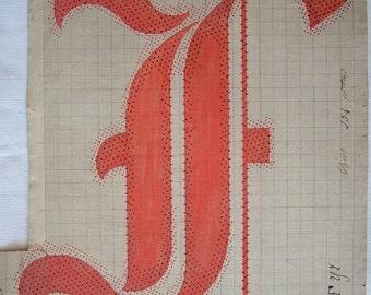 Letter F Original 19th Century Handpainted Textile Design  Monogram initial F for Name Gift Christmas