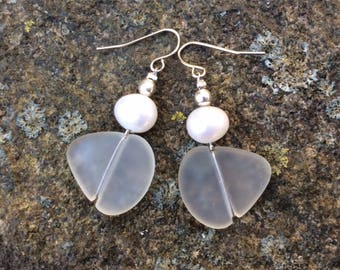 Frosty White Sea Glass Earrings with Fresh Water Pearls, Beach Glass, Recycled Glass, Earrings, Reclaimed, Recycled, Eco Friendly.