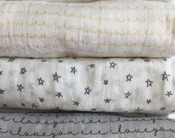 Extra Large Swaddle blanket, double gauze blanket, baby blanket, i love you gauze swaddle, muslin swaddle, stars swaddle.