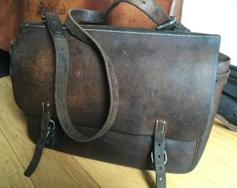 1939 Swiss Army Leather Messenger Bag - Saddlebag WWII