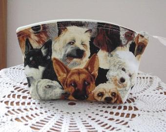Dog Cosmetic Bag. Dog Clutch. Zipper Purse. Beautiful Dogs.  Made in the USA.  Essential oils case. Antiquebasketlady