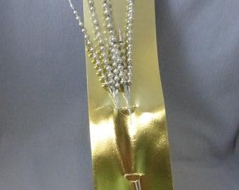 Vintage Mid Century Silver Mercury Glass Bead Spikes or Picks Unused (2)