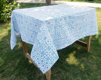 "Table cloth, geometric, blue, cotton, spring decor, 1"" hem border, custom tablecloth, sizes available"