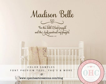 For This Child I Prayed Wall Decal with Baby Name - 1 Samuel 1 27 Scripture Baby Nursery Wall Decal Saying Quote  Ba0384