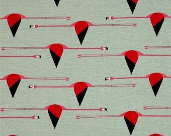 gray green organic cotton patchwork Maritime Flamingo fabric