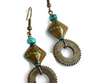 Steampunk Earrings, Cutting Wheels and Artisan Beads SEK90