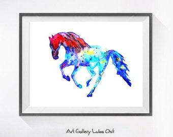 Horse watercolor painting print, Horse print, animal art, illustration print, animal watercolor, animal portrait, watercolor painting